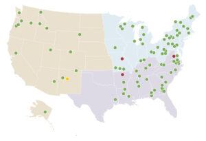 Produzione pellet Stati Uniti. Mappa Settembre 2019